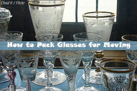 How to pack glasses for moving
