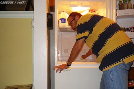 Moving a refrigerator is hard work.