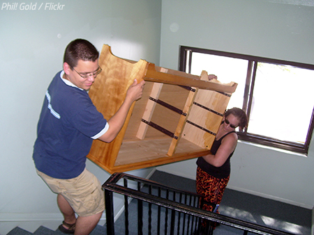 Moving furniture into an apartment